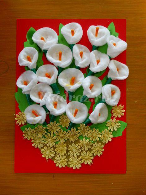 Поделки из ватных дисков и палочек цветы