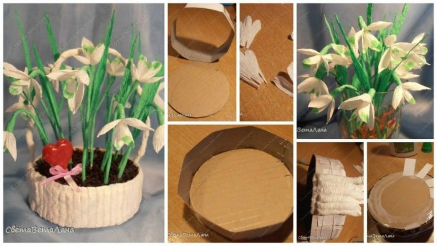 Flowers Basket Making : How to make snowdrops flower basket simple craft ideas
