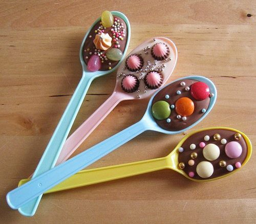 a spoon full of chocolate