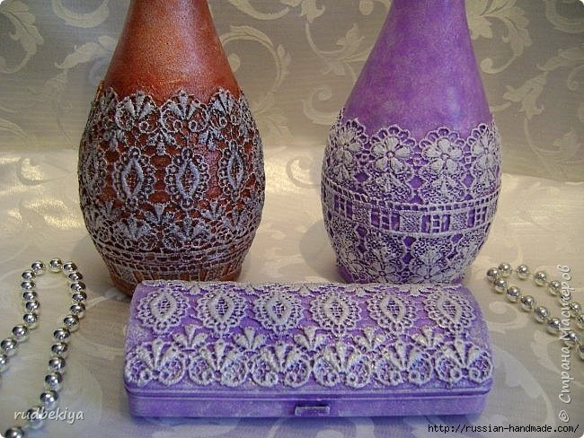 decorating bottles technique sicilian lace