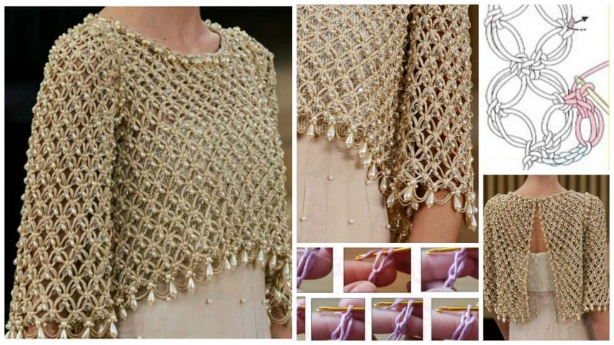 How To Make Crochet Bolero Adorned With Pearls Simple