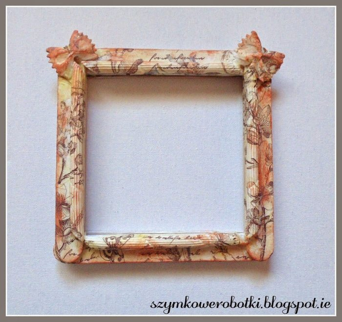 vintage frame from pasta and ice-cream sticks