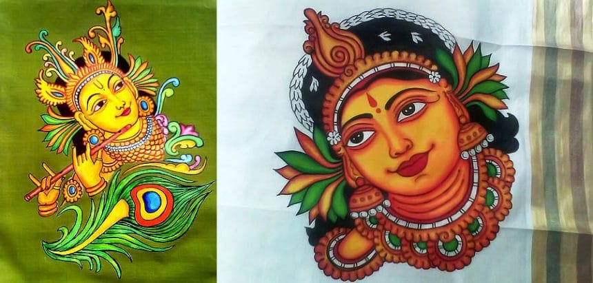 Different types of mural painted kurti simple craft ideas for Aithihya mural painting fabrics