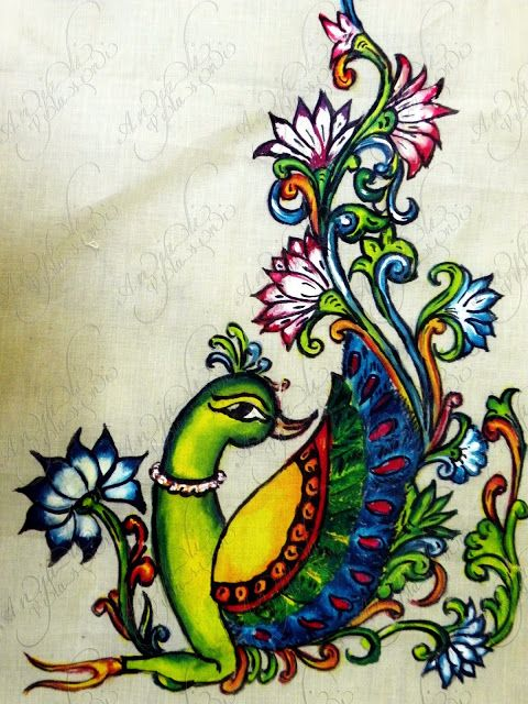 How to kerala mural painted saree simple craft ideas for Fabric mural designs