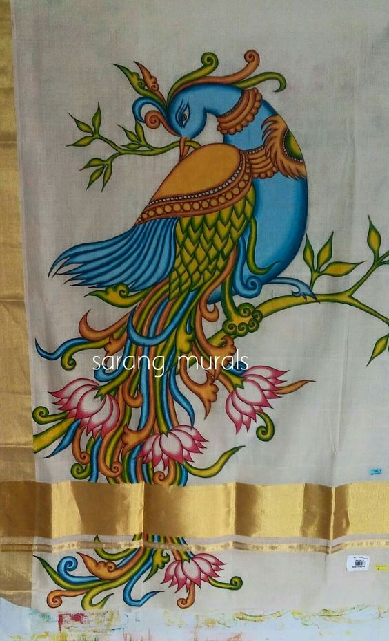 How to kerala mural painted saree simple craft ideas for Mural art designs