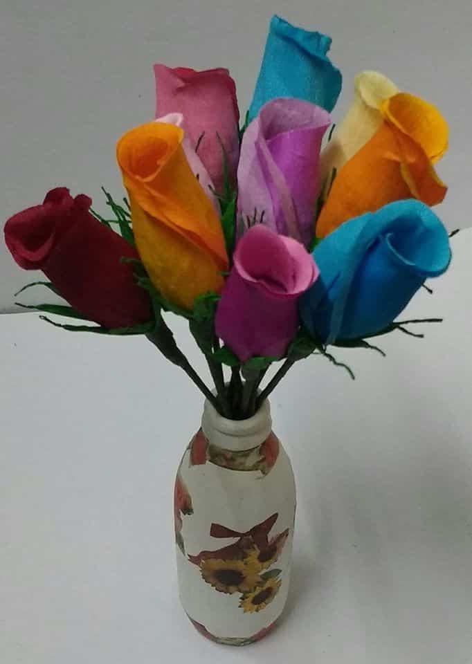 crepe paper rose buds