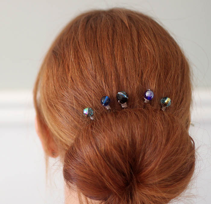 wire wrapped beaded hair pins