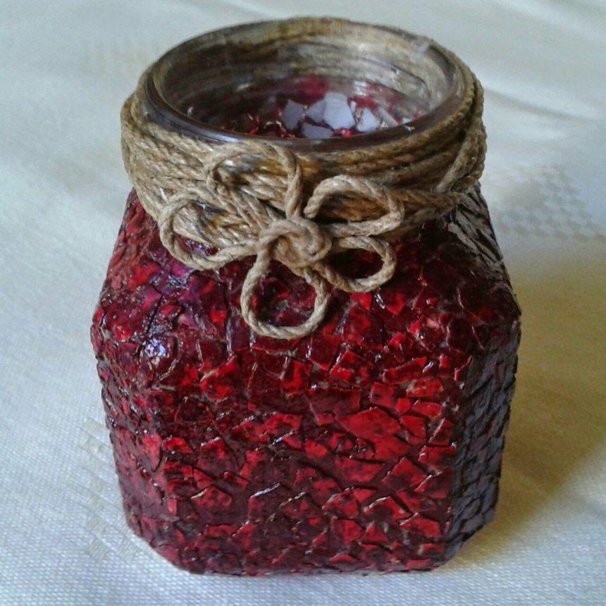 jar with eggshells