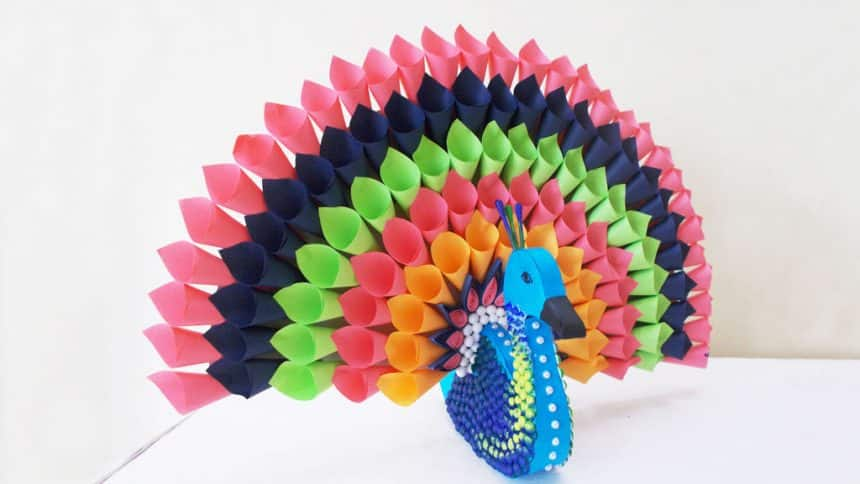 multicolored paper peacock