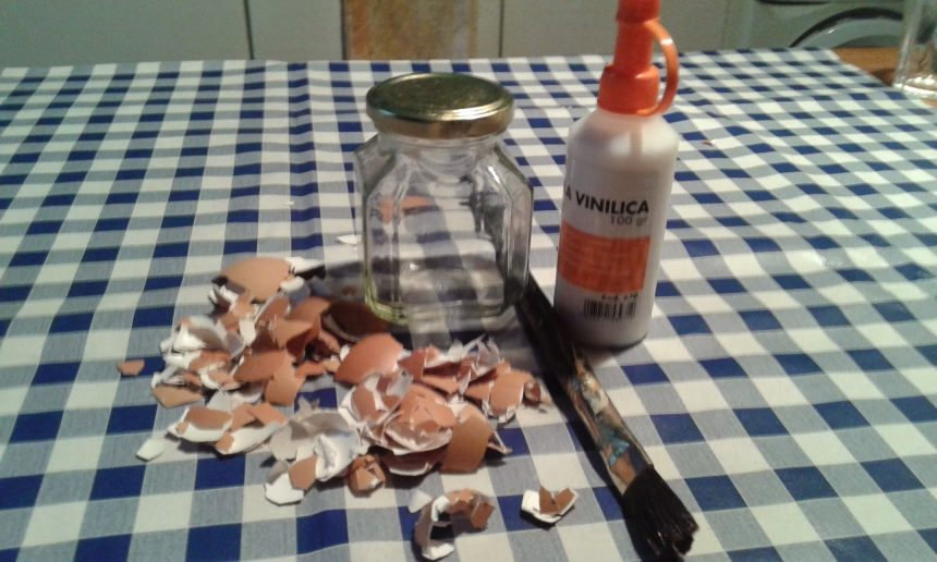 jar with eggshells