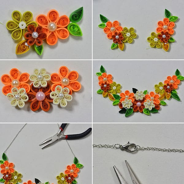quilling flower necklaces for girls