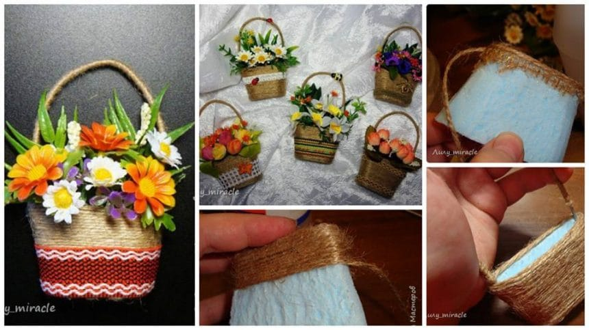 How To Make A Small Flower Basket : How to make small magnet quot basket with flowers simple