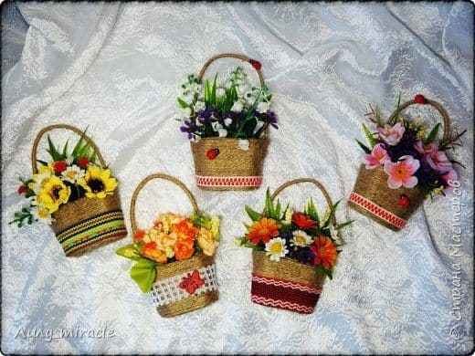 How To Make A Small Flower Basket : How to make small magnet basket with flowers