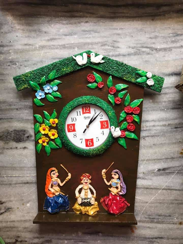 How to make rajasthani people wall clock Simple Craft Ideas