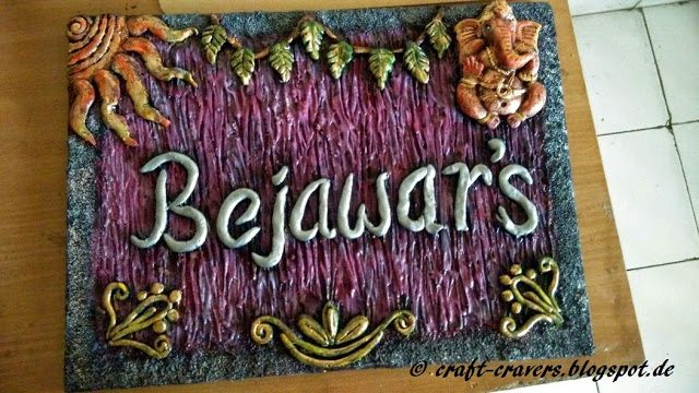 How to make mural name plate simple craft ideas for Mural name plate