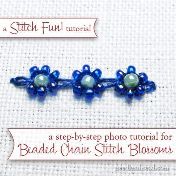 Beaded chain stitch blossoms