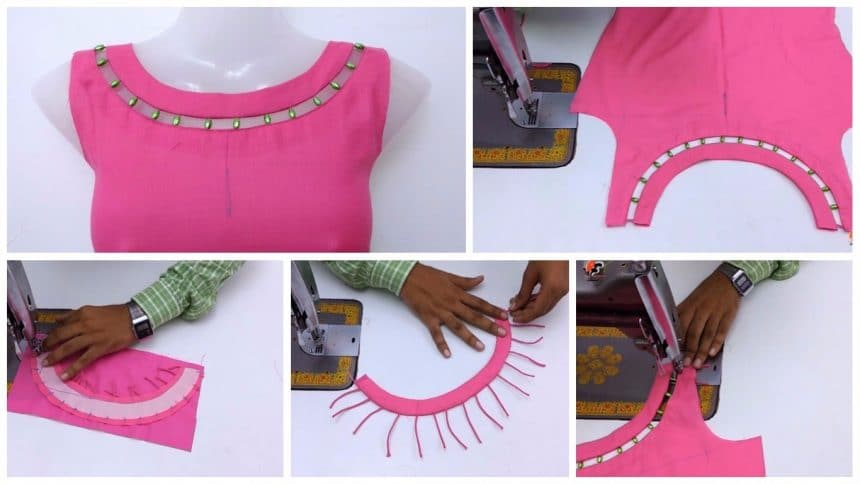 Front Boat Neck With Bead Design Cutting And Stitching