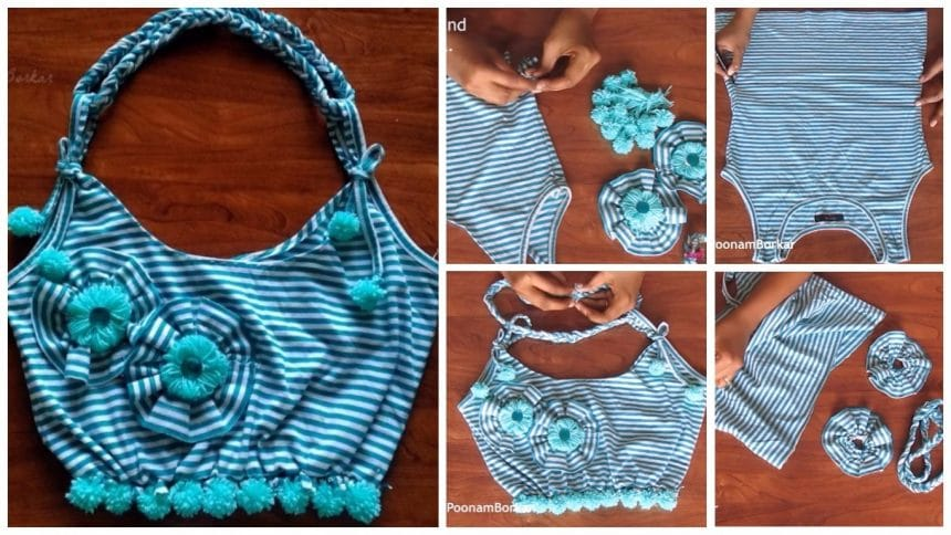 How to make bag from old t shirt simple craft ideas for Craft ideas for old t shirts