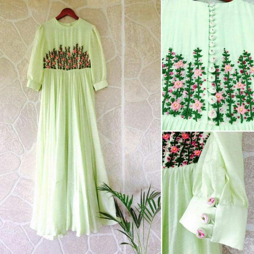 Different Types Of Flower Embroidered Kurtis Designs And