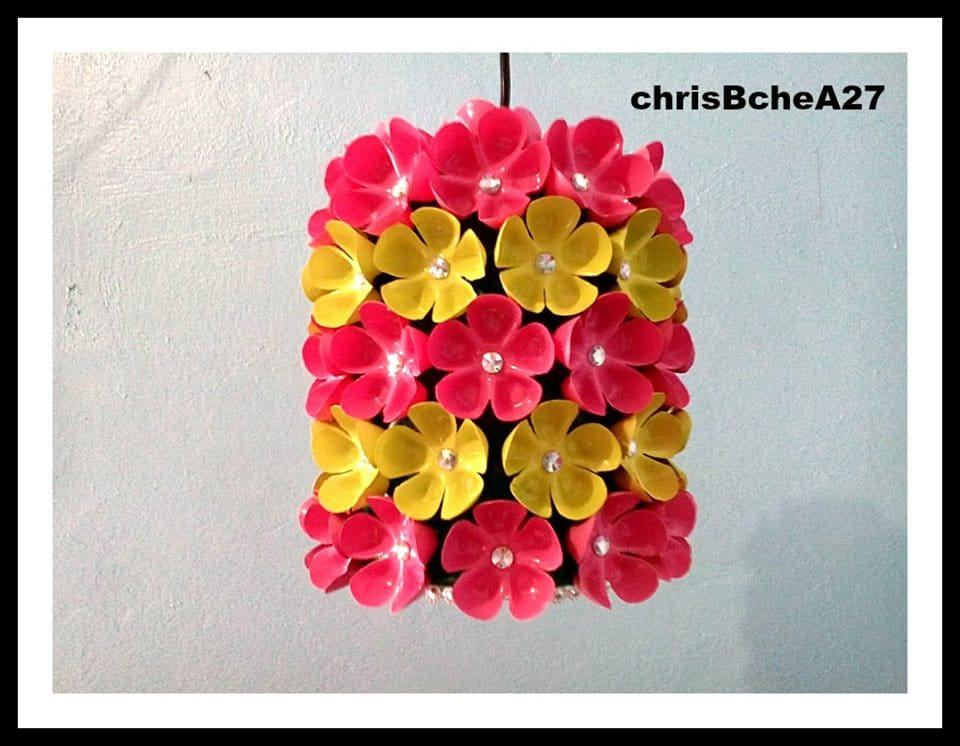 floral chandelier from plastic bottle