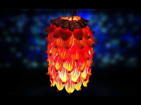 christmas lantern from plastic spoons