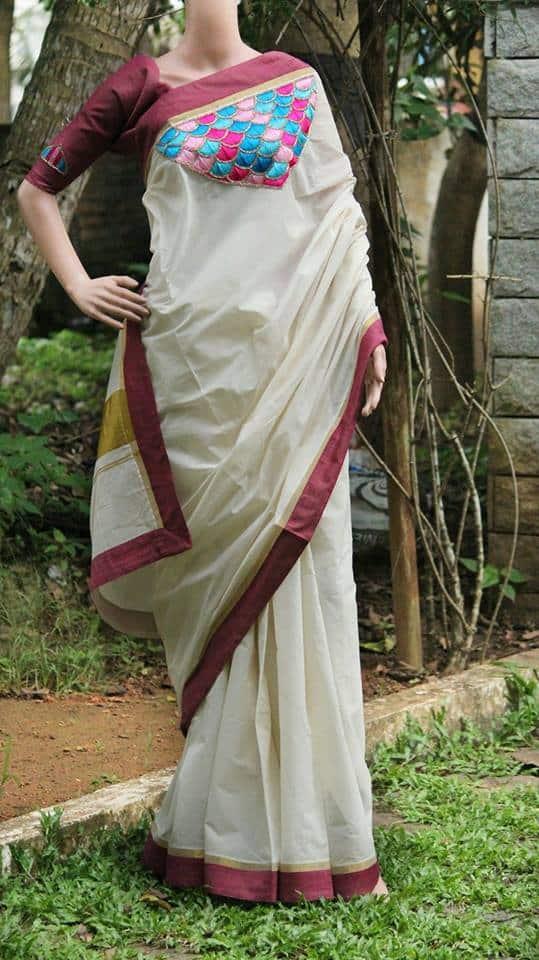 Hand embroidery saree design tutorial