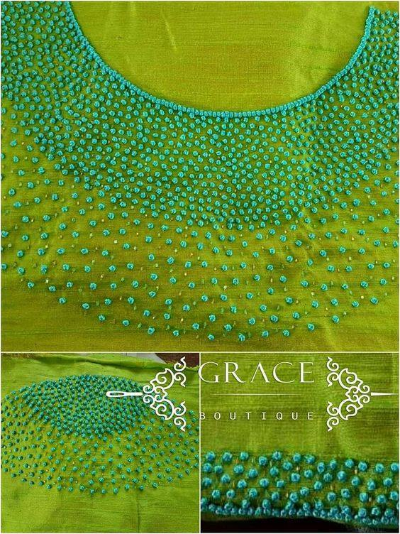 French knot embroidery stitching for kurti neck