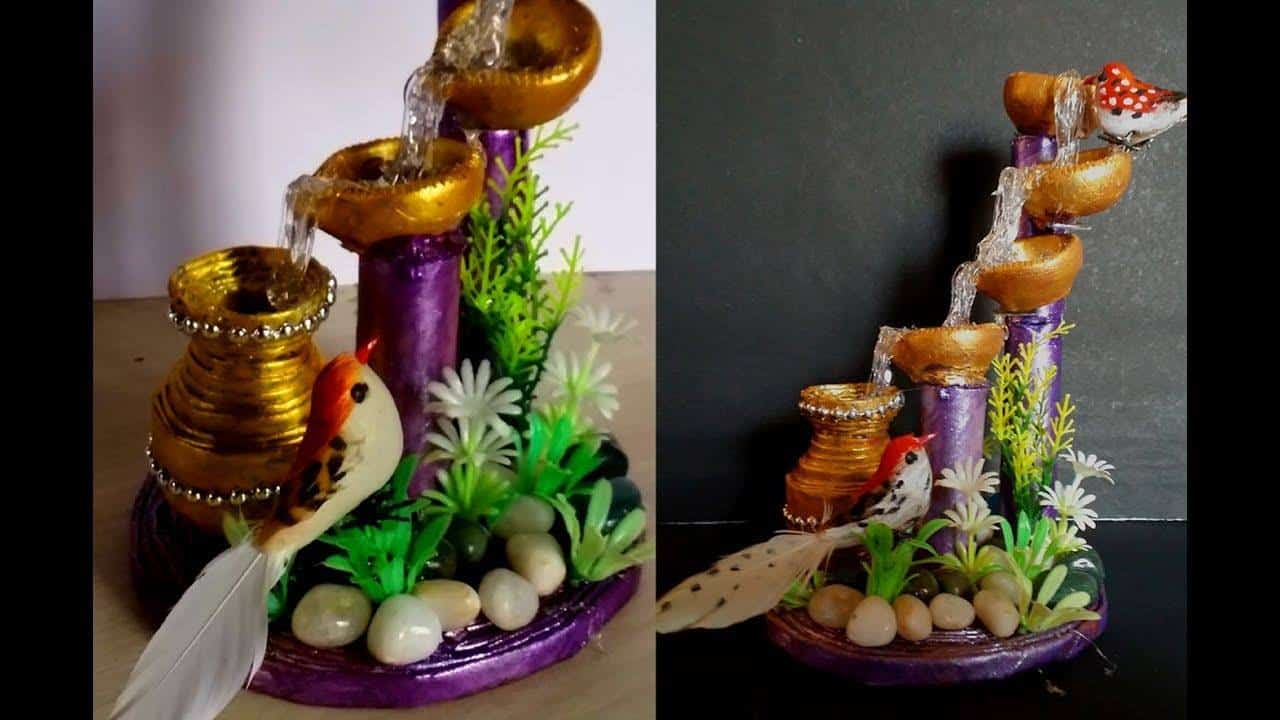How to make artificial waterfall showpiece with waste for Showpiece from waste material