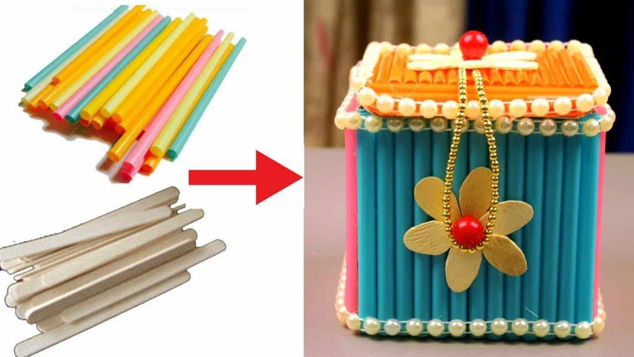 How to make jewellery box at home with waste material for Making hut with waste material