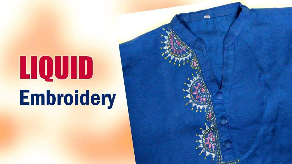 Liquid embroidery work for kurthi neck artsycraftsydad