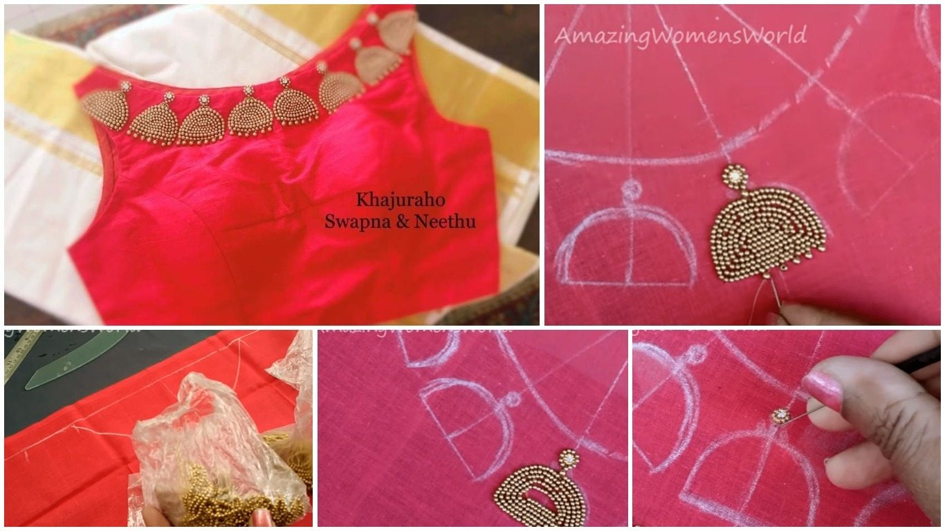 Maggam hand embroidery jhumka design boat neck for blouse ...