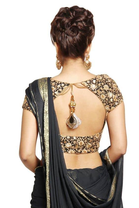 Saree Blouse Back Neck Designs