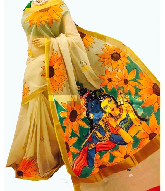 How To Kerala Mural Painted Saree Simple Craft Ideas
